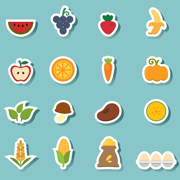 Icônes d'aliments naturels biologiques Vecteur Premium