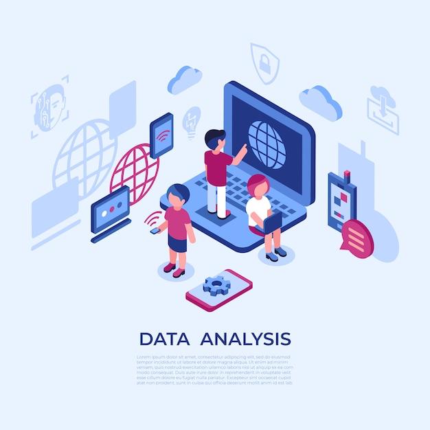 Icônes D'analyse De Données De Réalité Virtuelle Avec Des Personnes Vecteur Premium