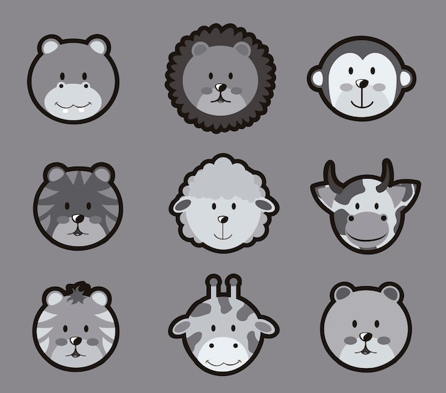 Icônes d'animaux au cours de l'illustration vectorielle fond gris Vecteur Premium
