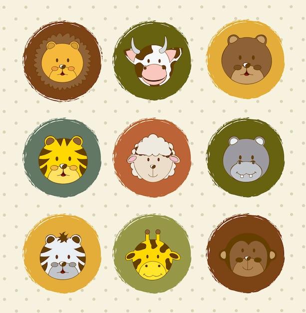 Icônes d'animaux au cours de l'illustration vectorielle fond vintage Vecteur Premium