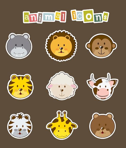 Icônes d'animaux sur illustration vectorielle fond marron Vecteur Premium