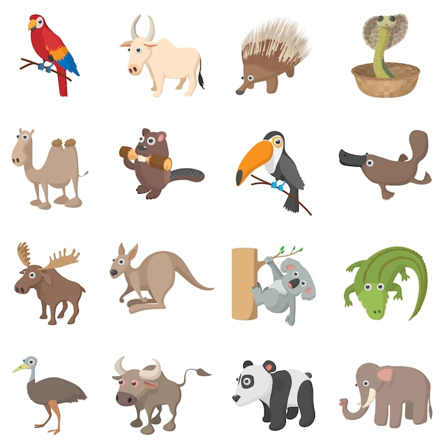 Icônes des animaux mis en style cartoon isolé Vecteur Premium