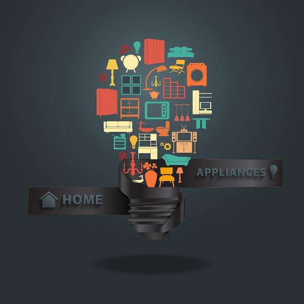 Icônes d'appareils ménagers avec idée créative ampoule Vecteur Premium