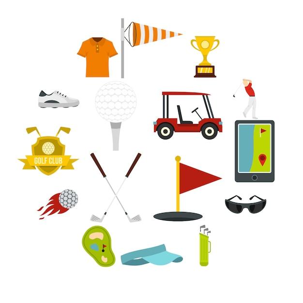 Icônes d'articles de golf dans le style plat Vecteur Premium