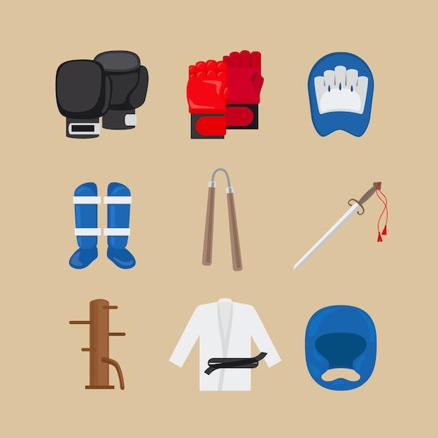 Icônes d'arts martiaux ou vecteur de signes de sports de combat Vecteur Premium