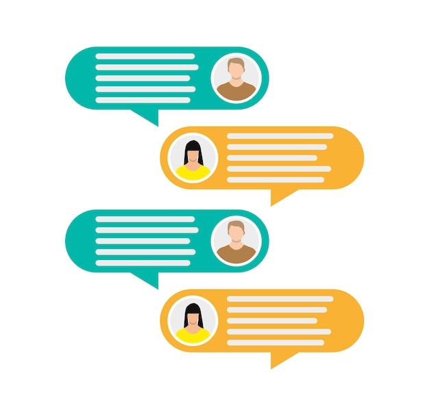 Icônes D'avatar Couple Avec Bulles De Dialogue Vecteur Premium