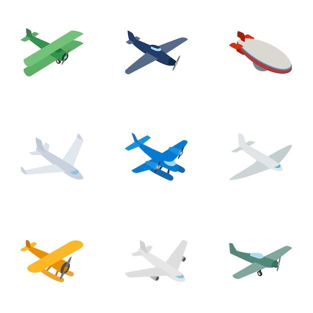 Icônes d'avion, style 3d isométrique Vecteur Premium