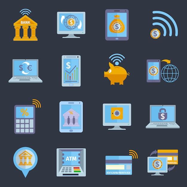 Icônes bancaires mobiles Vecteur gratuit