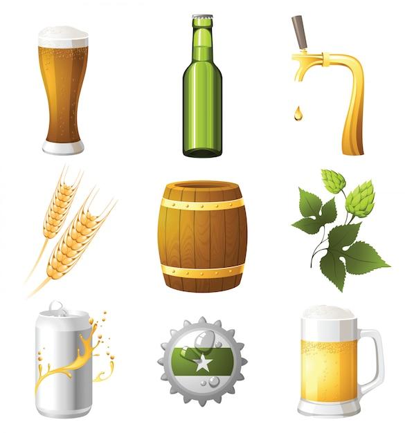 Icônes De La Bière Vecteur Premium