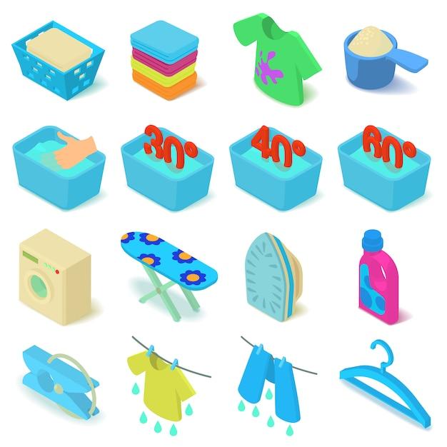 Icônes de blanchisserie définies. illustration isométrique de 16 icônes vectorielles de blanchisserie pour le web Vecteur Premium