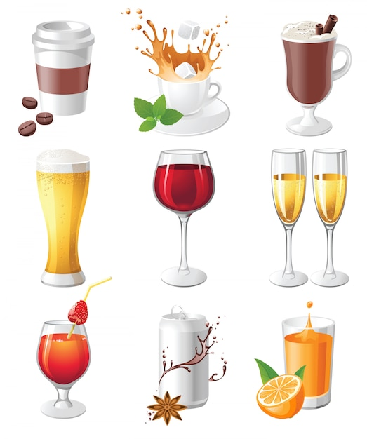 Icônes de boissons Vecteur Premium