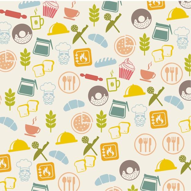 Icônes de boulangerie sur illustration vectorielle fond beige Vecteur Premium