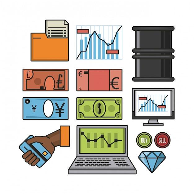 Icônes de la bourse Vecteur Premium
