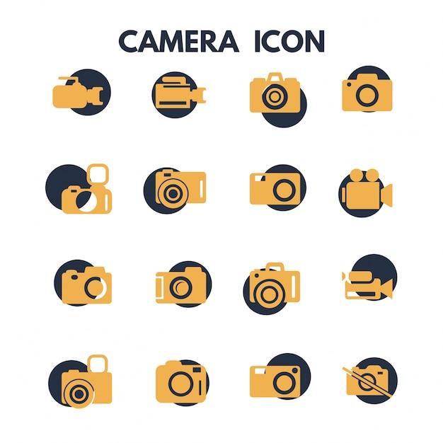 Icônes de la caméra photographie Vecteur gratuit
