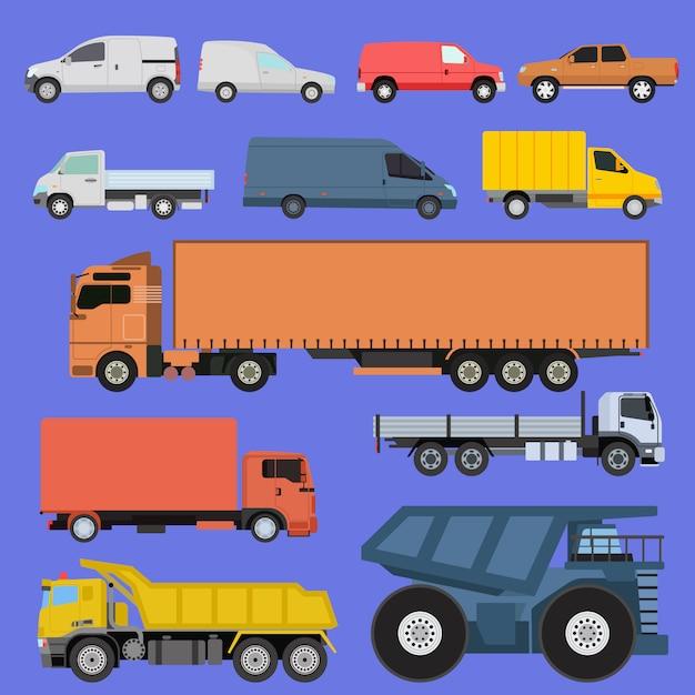 Icônes De Camions Définies Vector Expédition De Voitures Transport De Marchandises Par Route. Camions De Livraison De Véhicules De Livraison Et Wagons Avec Chariots élévateurs. Icônes De Style Plat Remorque Illustration De Trafic De Camion Vecteur Premium