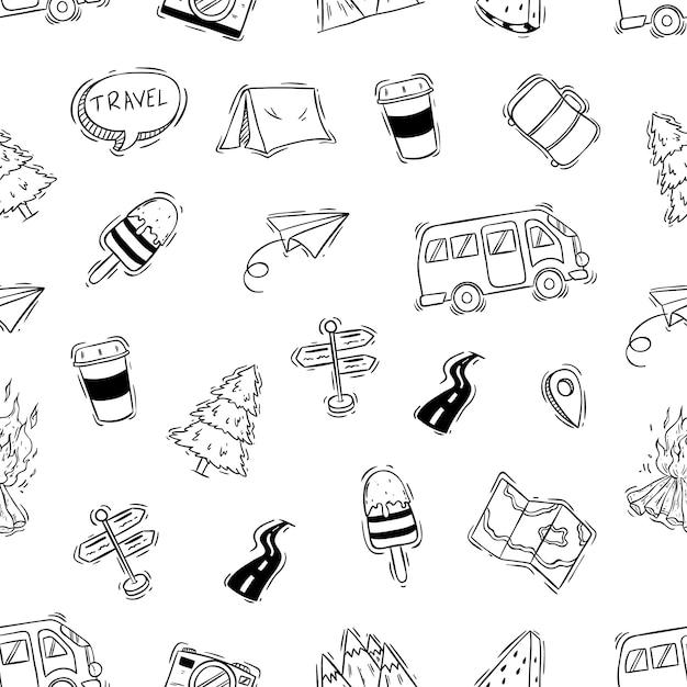 Icônes de camping ou de voyage en jacquard sans soudure avec style doodle Vecteur Premium