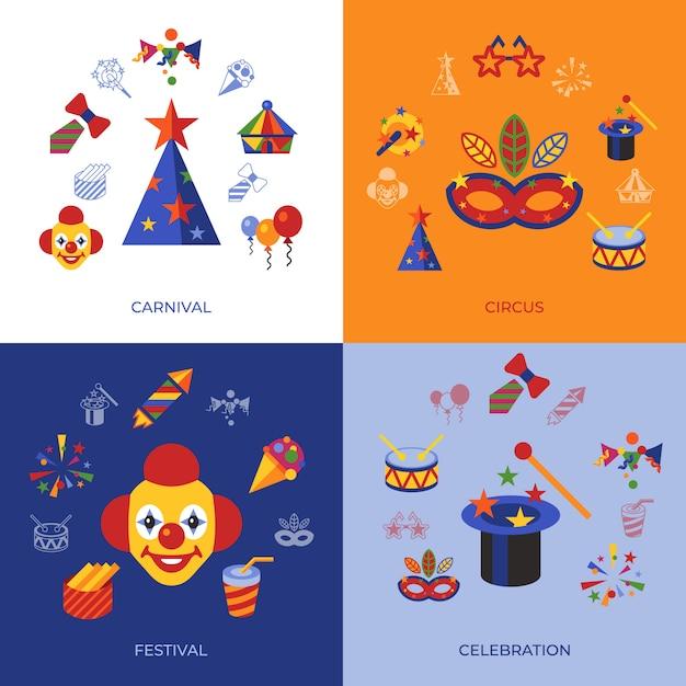 Icônes de carnaval et de cirque Vecteur Premium