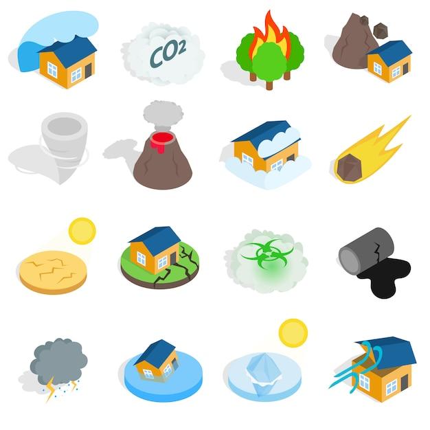 Icônes de catastrophe catastrophe naturelle définies dans un style 3d isométrique. illustration vectorielle Vecteur Premium