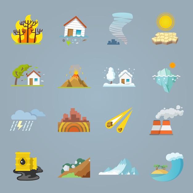 Icônes de catastrophes naturelles plates Vecteur gratuit