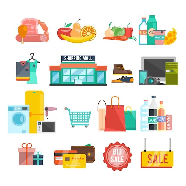 Icônes de centre commercial Vecteur gratuit