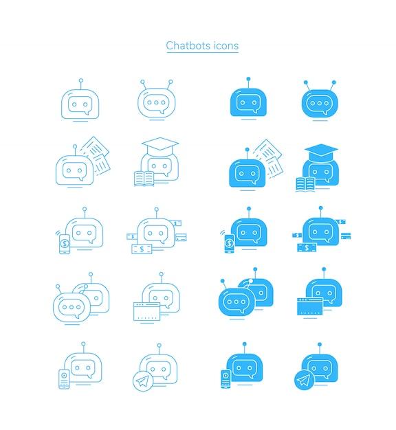 Icônes Chatbot. Jeu D'icônes De Bot Bot. Vecteur Premium