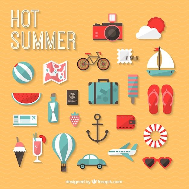 Icônes chauds d'été Vecteur gratuit