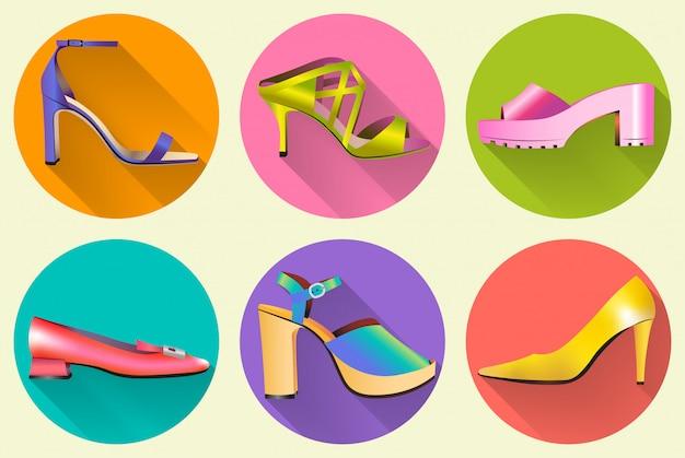 Icônes de chaussures pour femmes élégantes Vecteur Premium