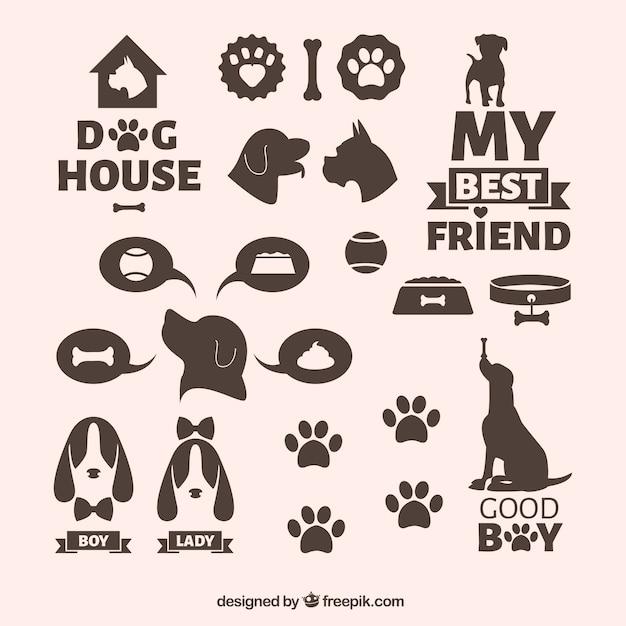 Icônes de chiens Vecteur gratuit