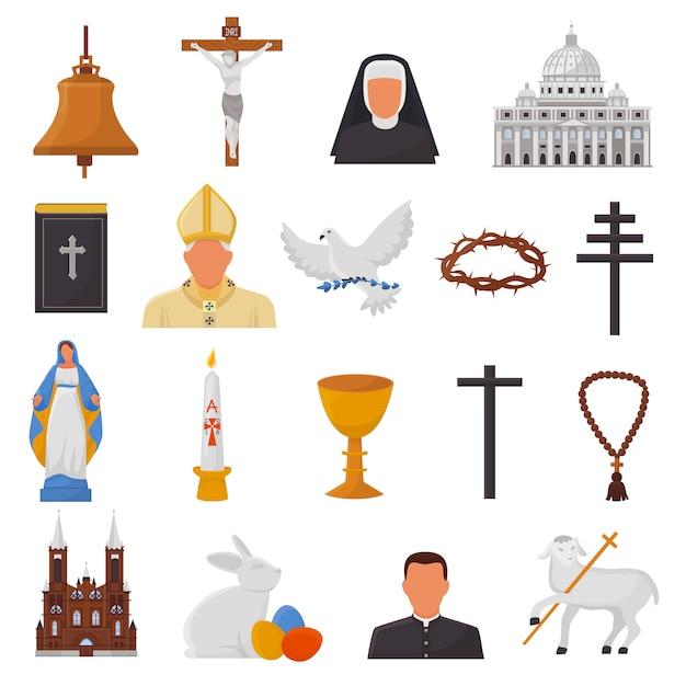 Icônes Chrétiennes Vecteur Christianisme Religion Signes Et Symboles Religieux église Vecteur Premium