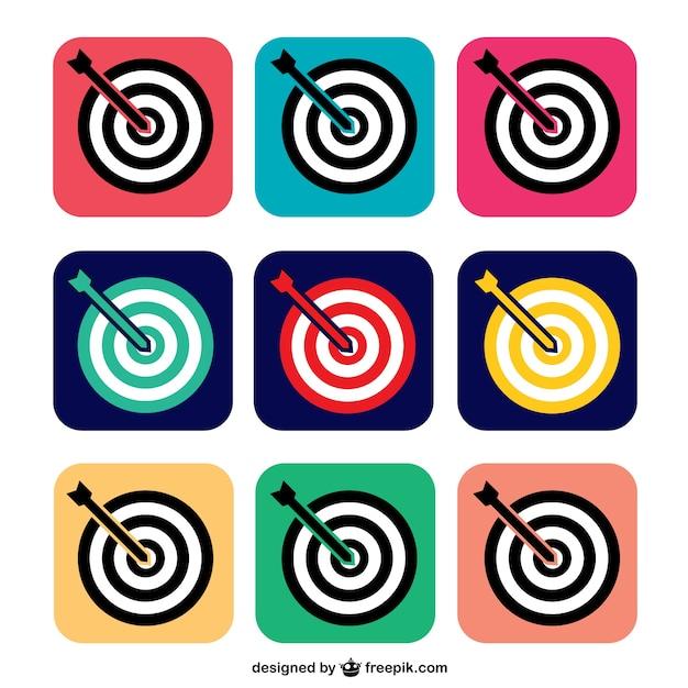 Icônes cibles colorées Vecteur gratuit