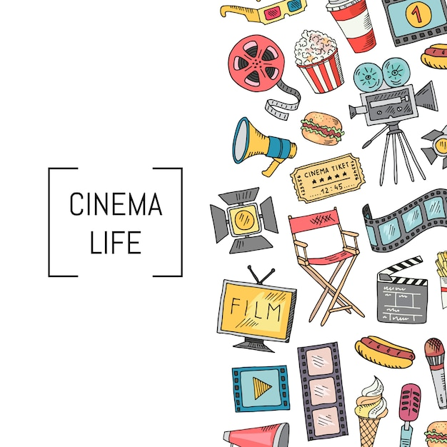 Icônes de cinéma Vecteur Premium