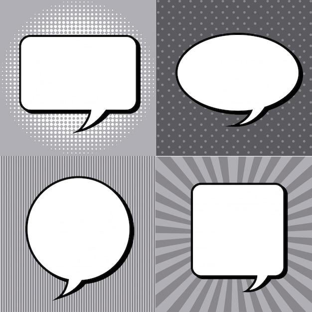 Icônes comiques au cours de l'illustration vectorielle fond grunge Vecteur Premium