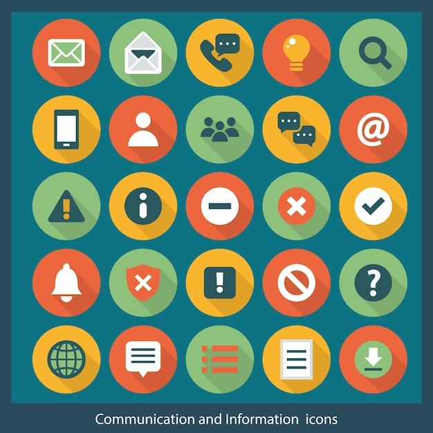 Icônes de communication et d'information Vecteur Premium