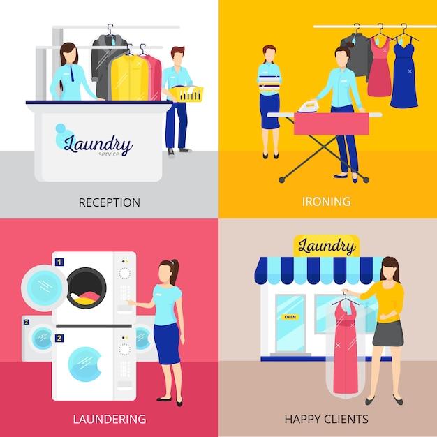 Icônes de concept de blanchisserie sertie de symboles de fer et de réception Vecteur gratuit