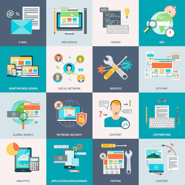 Icônes de concept de développement de site web Vecteur Premium