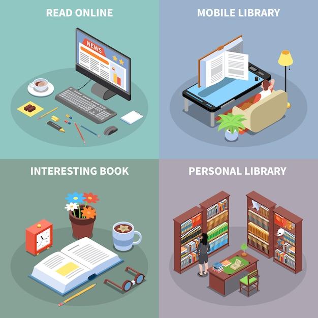 Icônes De Concept De Lecture Et De Bibliothèque Sertie De Symboles De Bibliothèque Mobile Isométrique Isolé Vecteur gratuit