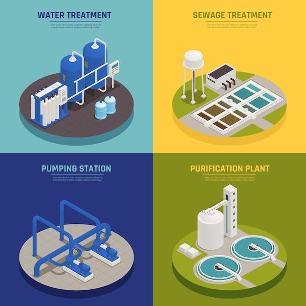 Icônes De Concept De Nettoyage De L'eau Sertie De Symboles De Traitement De L'eau Isométrique Isolé Vecteur gratuit