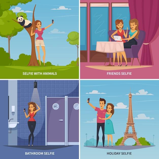 Icônes concept selfie sertie de symboles de voyage et animaux plate illustration vectorielle isolé Vecteur gratuit