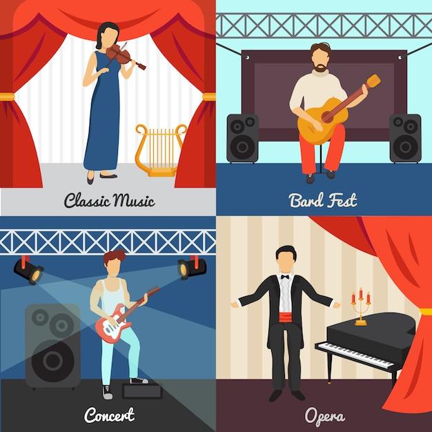 Icônes de concept de théâtre sertie de symboles de barde fest et d'opéra Vecteur gratuit