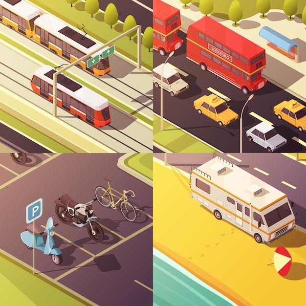 Icônes de concept de transport avec voitures et camionnettes Vecteur gratuit