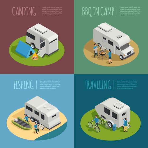 Icônes De Concept De Véhicules De Loisirs Avec Symboles De Camping Vecteur gratuit