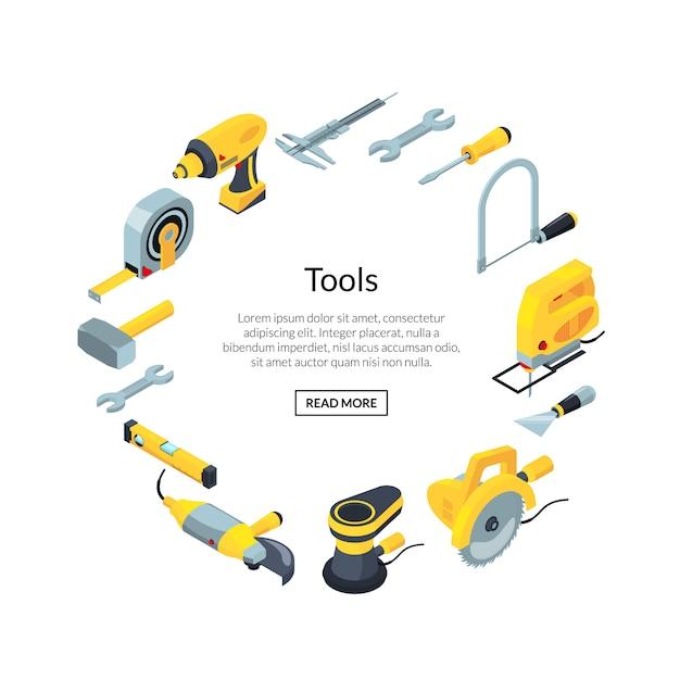 Icônes de construction outils bannière isométrique en cercle Vecteur Premium