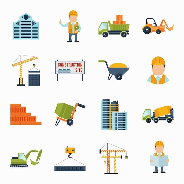 Icônes de construction plat Vecteur gratuit