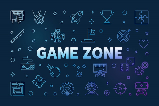 Icônes de contour de couleur zone de jeu Vecteur Premium