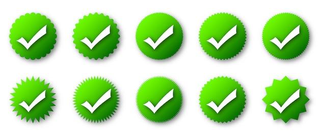 Icônes De Contrôle Vert Avec Ombre Vecteur Premium