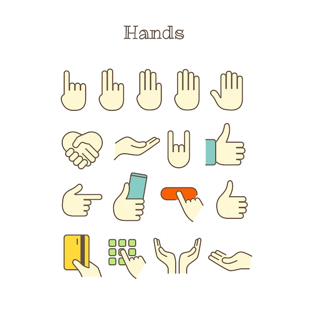 Icônes de couleur différentes lignes fines vectorielles ensemble. mains Vecteur Premium