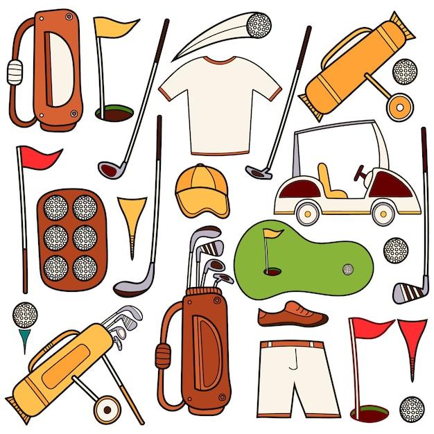 Icônes de couleur de golf mis en main dessiner un style bande dessinée Vecteur Premium