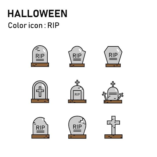 Icônes de couleur de ligne halloween Vecteur Premium