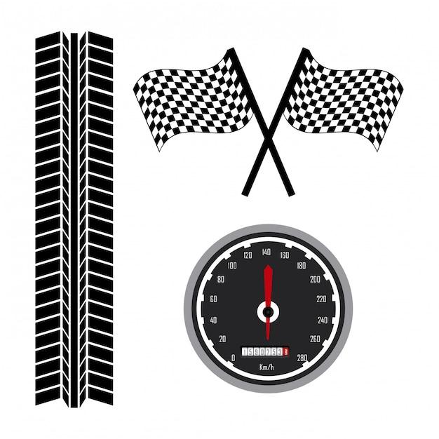 Icônes de la course au cours de l'illustration vectorielle fond blanc Vecteur Premium