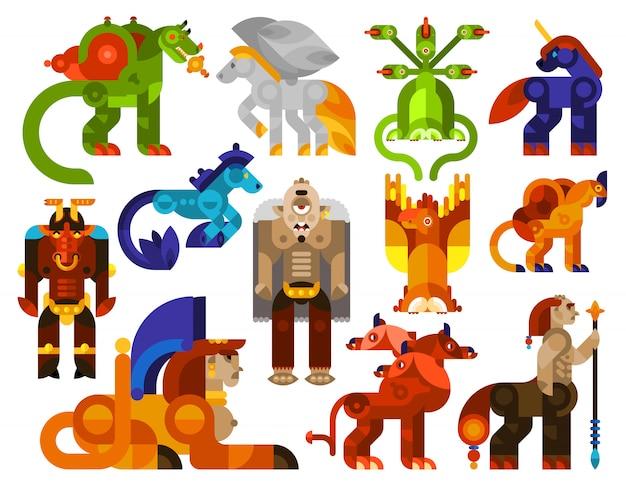 Icônes de créatures mythiques Vecteur gratuit